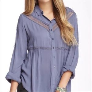 Free People Wild Wing Lace tunic blue . Medium